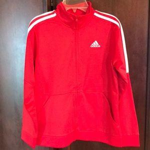 Girls red adidas jacket size 10/12